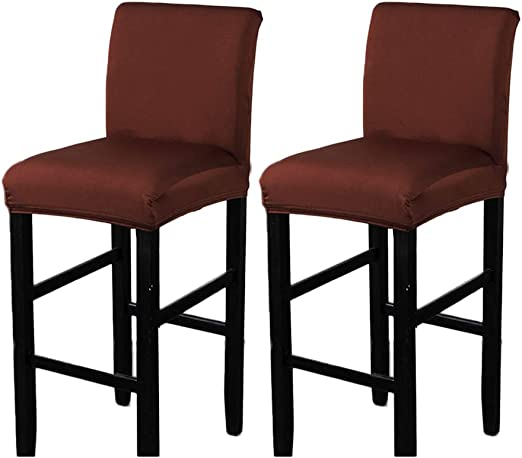 Brown Velvet Fabric, 10 Colors Available Removable Stretch Dining Chair Protector Cover Bar Stool Slipcover