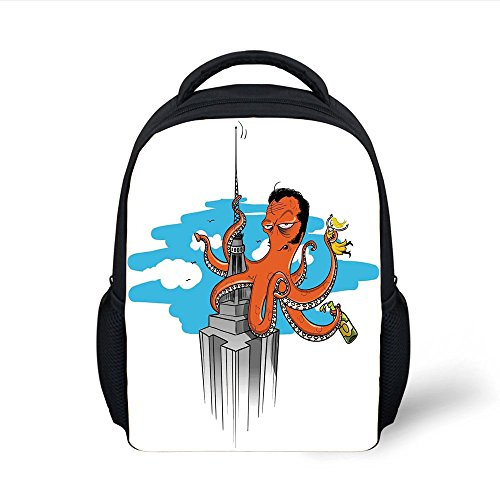 iPrint Kids School Backpack Octopus Decor,Retro Cartoon Octopus Illustrated as King Kong on Empire State Building Lady in Tentacles,Multi Plain Bookbag Travel Daypack