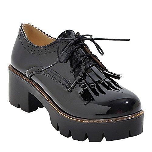 Mee Shoes Damen chunky heels Quasten Plateau Schnürschuhe Schwarz