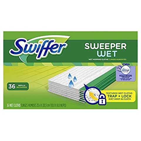 Swiffer Sweeper Wet Mopping Pad Refills for Floor Mop with Febreze Lavender Vanilla & Comfort Scent 36 (Wood Floor Cleaning Tools)