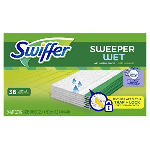 Swiffer Sweeper Wet Mopping Pad Refills for Floor Mop with Febreze Lavender Vanilla & Comfort Scent 36 Count