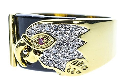 Sujak Jewelry Radiant Eagle Onyx Men's Ring Russian cz Accents Simulated Ruby 18K Gold Overlay Size 9