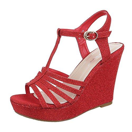 Ital-Design Keilsandaletten Damen Schuhe Plateau Keilabsatz/Wedge Keilabsatz Schnalle Sandalen/Sandaletten Rot