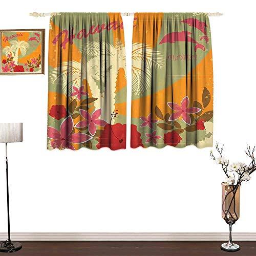 (Tidefree Hawaiian, Window Curtain Fabric, Aloha Vintage Print Colorful Swirl Backdrop Dolphins Palm Trees Flowers, Kids Room Artwork 2 Panels Set, W63 x L45 Inches, Marigold Reseda Green)