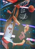 """This is a Hassan Whiteside 1st Triple Double Autographed Miami Heat 16x20 Photo. Inscribed with """"1st Triple Double"""" inscription. Signed in silver sharpie across the front of the photo. Hassan is going up for a dunk on Pau Gasol, while playing..."""