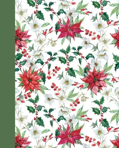 Sketchbook: Holiday Poinsettias 8x10 - BLANK JOURNAL WITH NO LINES - Journal notebook with unlined pages for drawing and writing on blank paper (8x10 Holiday Sketchbook Series) -