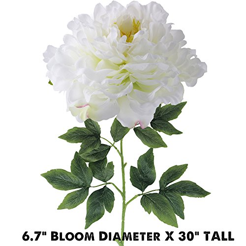 Supla 3 Big Stems Real Touch Silk Large Peony Flower Stems in White 6.7