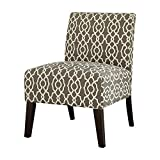 Major-Q Linen Slipper Accent Chair for Living Room/Bedroom, Solid Pattern, Tight Back and Seat Cushion, Brown Pattern Finish with Wooden Tapered Leg 27 x 34 x 24 Review