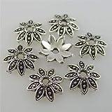 FidgetFidget Bead End Caps Antique Silver Tone Alloy Flower Leaf Spacer 12226 250PCS 7mm
