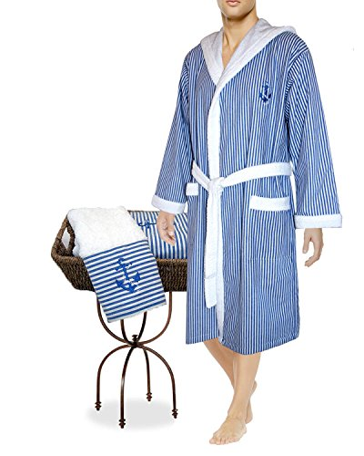 Armani International Nautical Hooded Robe + Hand Towel Large Blue-White by Armani International
