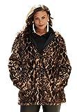 Roamans Women's Plus Size Short Faux Fur Coat Animal Print,18/20
