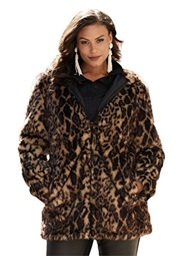 Roamans Women's Plus Size Short Faux Fur Coat Animal Print,18/20 by Roamans