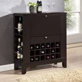 Baxton Studio Modesto Brown Modern Dry Bar and Wine Cabinet, Medium, Dark brown