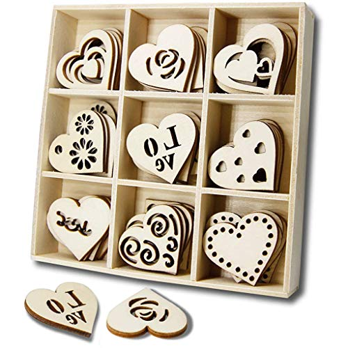YuQi 45PCS Wooden Hearts Theme Scrapbooking Embellishments Sets with Storage Tray, Mini Laser Cut Blanks Wood Shapes for Valentine's Day & Wedding Decorations Kits,Kids Birthday Gifts from Parents