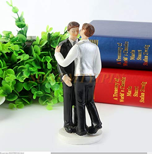SCHOLMART Funny Bride and Groom Decorative Wedding Cake Toppers - Cake Topper Figurines, Keepsake Wedding Cake Decorations in Unique Pose (Romance Gay) -