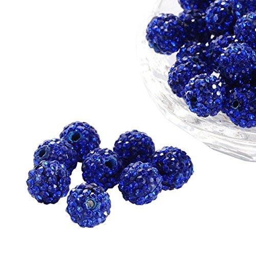 Pandahall 100 Pcs 10mm Sapphire Shamballa Pave Disco Ball Clay Beads, Polymer Clay Rhinestone Beads Round Charms Jewelry Makings
