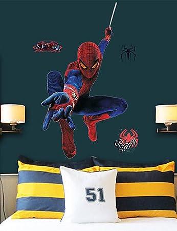 WD Wall Stickers Wall Decals Cartoon Super SpiderMan Children - Spiderman wall decals uk