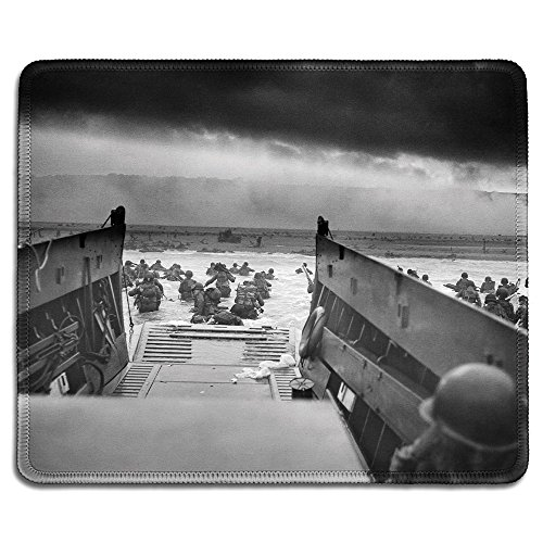 Price comparison product image dealzEpic - Art Mousepad - Natural Rubber Mouse Pad with Classic Photo of Normandy landings (Into The Jaws of Death — U.S. Troops Wading Through Water) - Stitched Edges - 9.5x7.9 inches