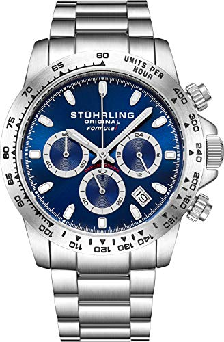 Stuhrling Original Mens Sport Chronograph Watch - Stainless Steel Brushed Matte Bracelet, 891 Formula'i' Watches Collection (Blue)