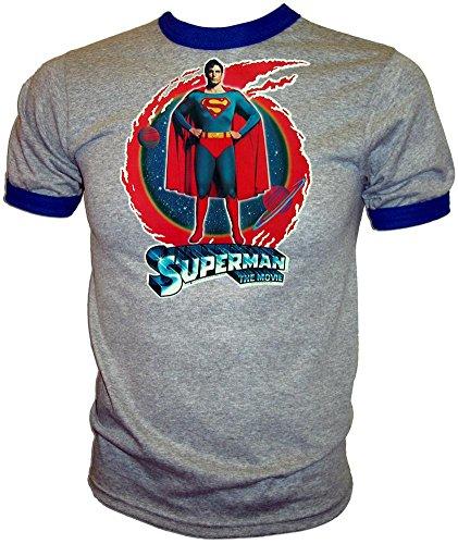 Original 1978 D.C. Comics Superman Christopher Reeve Movie Licensed Vintage Print Unused Ringer T-Shirt