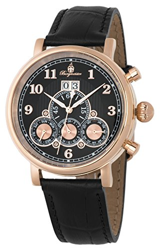 Burgmeister Men's Automatic Stainless Steel and Leather Casual Watch, Color Black (Model: BM338-322)