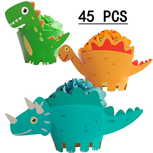 Dinosaur Cupcake Wrappers Toppers Party Supplies Birthday Dino Cake Decorations Jurassic - T-Rex/Triceratops/Spinosaurus