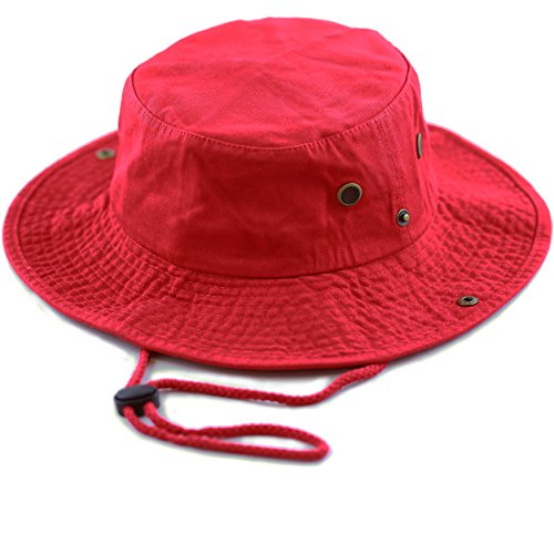 THE HAT DEPOT 300N1510 Wide Brim Foldable Double-Sided Outdoor Boonie Bucket Hat (L/XL, Red)