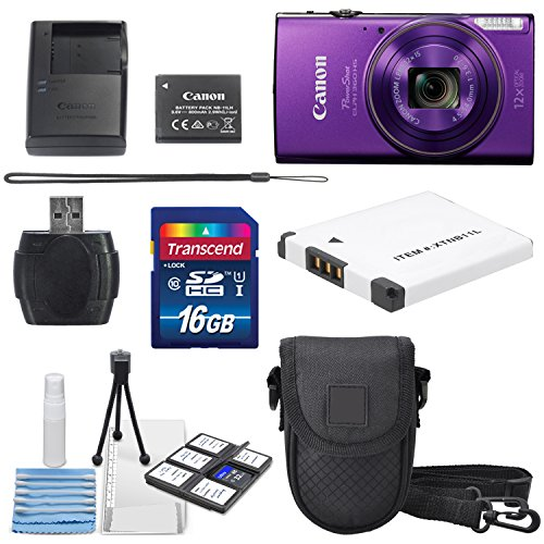 Canon PowerShot ELPH 360 HS (Purple) with 12x Optical Zoom and Built-In Wi-Fi with Deluxe Starter Kit Including 16 GB SDHC Class10 + Extra battery + Protective Camera Case