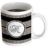 3dRose mug_180729_3 Elegant Black White Ocelot Animal Print Monogram Letter H, Magic Transforming Mug, 11-Ounce