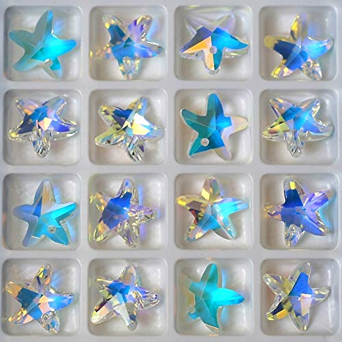 (Calvas 14mm 28pcs/Pack Crystal Beads Charms Starfish Crystal AB Glass Beads Rhinestone gem for Jewelry Making Earring DIY Best Quality)