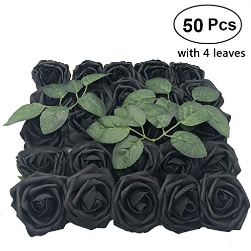Artificial Flowers Rose, 50pcs Real Looking Artificial Roses w/Stem for Bridal Wedding Bouquets Centerpieces Baby Shower DIY Party Home Decor, Black with 4 Leaves (Black Roses Bouquet Flowers)
