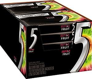 Five Sugar Free Gum, RPM Fruit, 15 Piece Pack (10 Count)