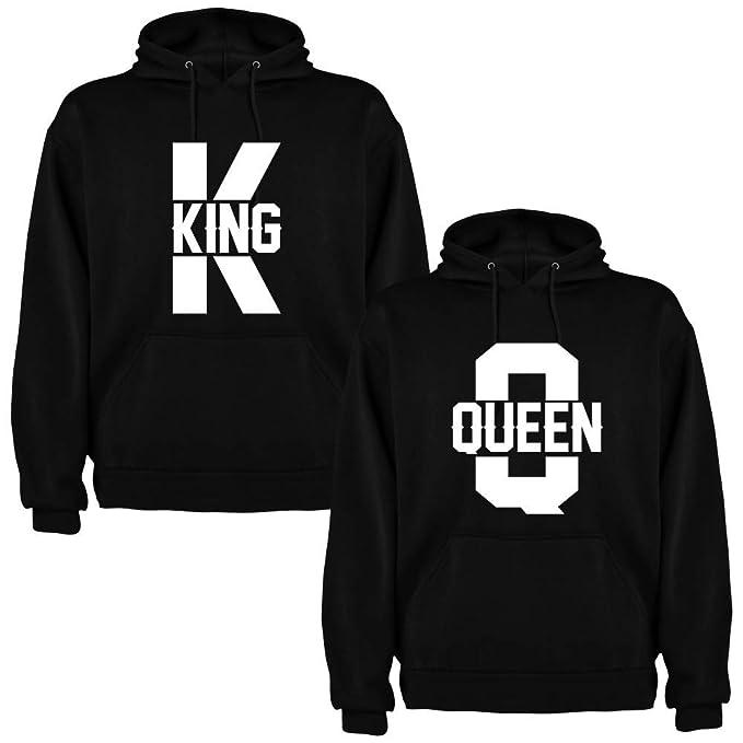 Pack de 2 Sudaderas Negras para Parejas King K y Queen Q Blanco (Mujer Tamaño