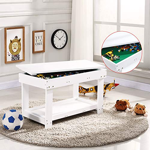 YouHi Kids Activity Table with Board for Bricks Activity Play
