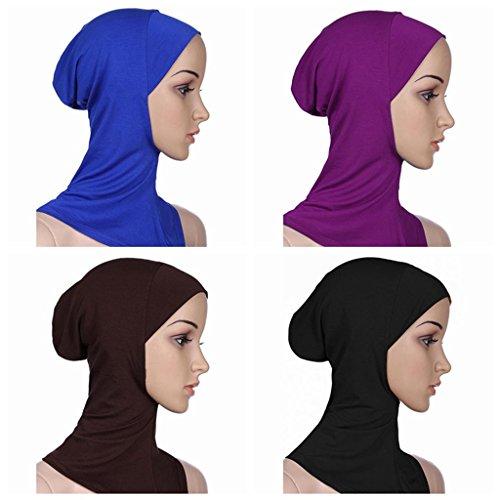 Ksweet 4pcs Lightweight Elastic Hijab Caps Full Cover Hijab Bonnet Islamic Scarf for Women Turban (Blue+Black+Purple+Light brown)