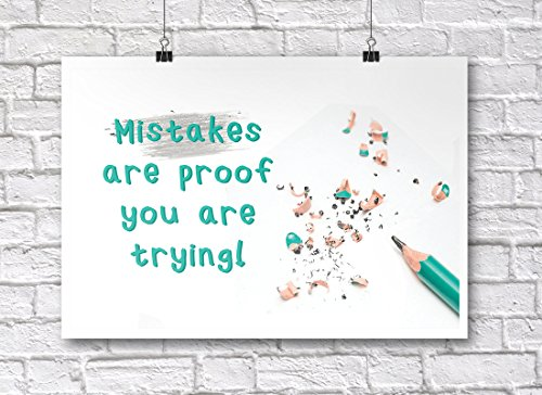 - JSC377 Mistakes Are Proof You Are Trying Classroom Poster | 18-Inches By 12-Inches | Premium 100lb Gloss Poster Paper