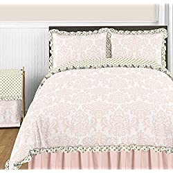 Sweet Jojo Designs 3-Piece Blush Pink White Damask and Gold Polka Dot Amelia Girls Full / Queen Childrens Bedding Set