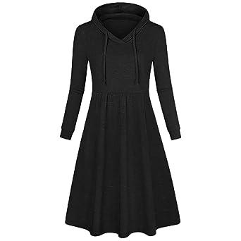 Jaminy Damen Hoodie Langarm Sweatkleid Sweatshirt Kapuzenpullover mit Kapuze Damen Pullover Lässiger Hoodie Sweatshirt Kleid
