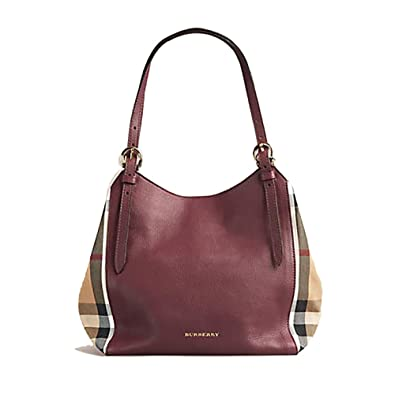 43c6a9e35cb2 Image Unavailable. Image not available for. Color  Tote Bag Handbag  Authentic Burberry Small Canter in Leather and House Mahogany Red ...