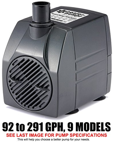 PonicsPump PP12016: 120 GPH Submersible Pump with 16' Cord - 6W... for Fountains, Statuary, Aquariums & more. Comes with 1 year limited warranty.
