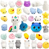 Grobro7 Kawaii Animal Slow Rising Squishy,Mochi Mini Soft Squeeze Stress Relief Toy,Decorative Gift Kids Party Toy,Including Cute Starry Bear,Fox,Whale Random 30 Pcs Mochi Squishy,Total 33 Pcs
