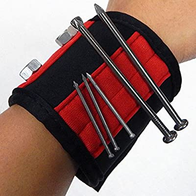Mithea Magnetic Tool Cuff Wrist Band - Holds Nails, Screws, Nuts, and Bolts - RED