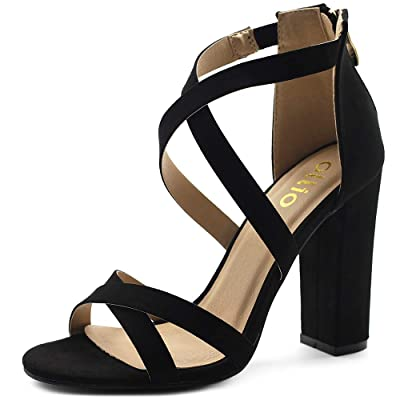 Ollio Women's Shoes Faux Suede or Faux Leather Ankle Toe Cross Strap Zip Up High Heels Pumps Sandals H98 | Heeled Sandals