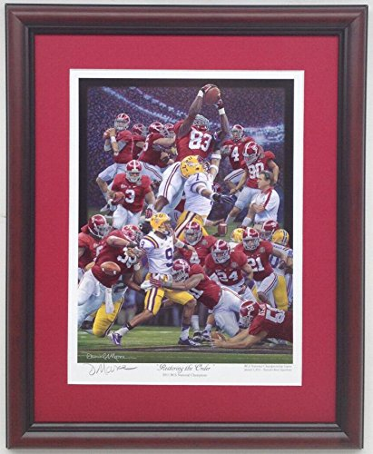 (Alabama Football National Championship vs. LSU Restoring The Order by Daniel Moore Framed Print)
