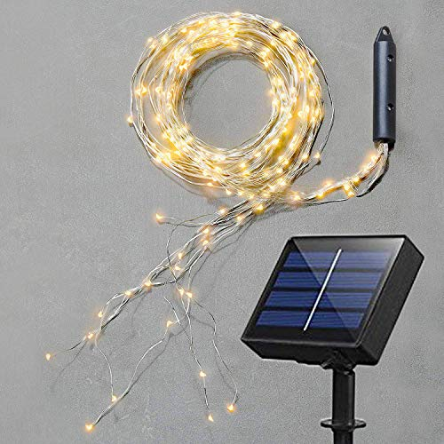 Soltuus Solar 120 LED String Fairy Lights, Starry Copper String Lighting, Waterproof Watering Can Light, Solar Powered Firefly Moon for Plants Tree Vines Decorations, Warm White