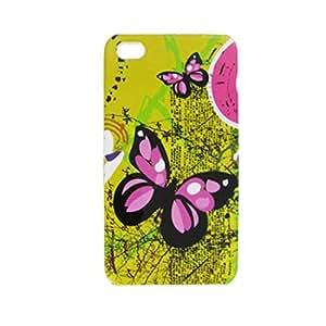 Fucsia mariposa de plástico duro Volver Funda para el iPhone 4 4G