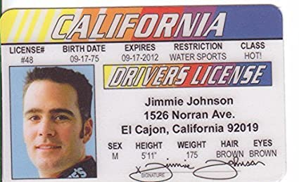 Amazon com: Jimmie Johnson Novelty Drivers License / Fake