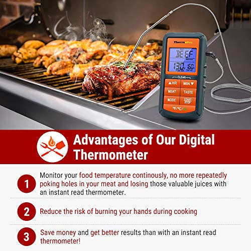 ThermoPro TP06S Digital Grill Meat Thermometer with Probe Standard, Orange