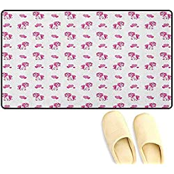 "Love Bath Mat with Non Slip Pink Hearts and Magical Pony Horse Kids Girls Design Fairytale Toy Animal Cartoon Size:16""x24"" Hot Pink White"