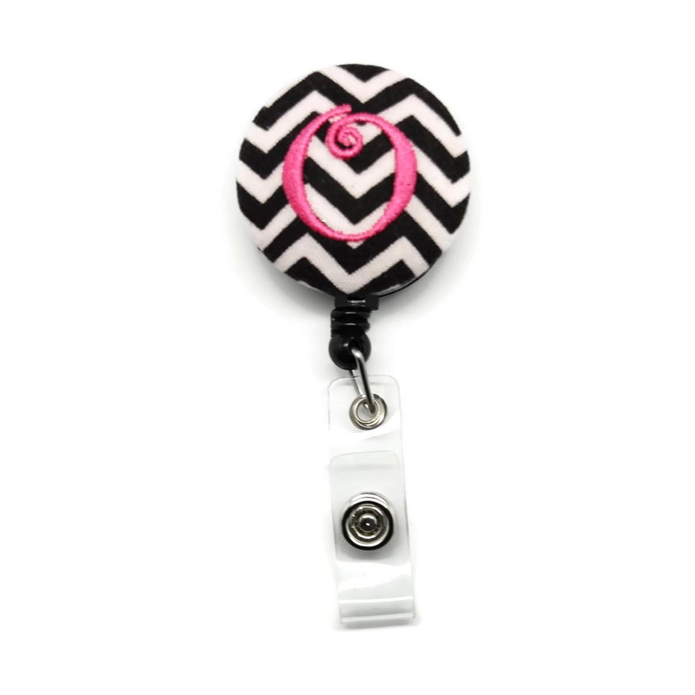Black Chevron with Pink Your Choice of Letter Badge Reel Retractable for ID or Key Card Free Shipping